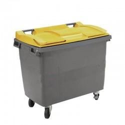 Conteneur poubelle 770 l, cuve grise, 4 roues couvercle jaune