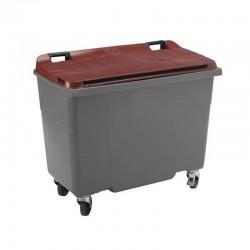 Conteneur poubelle 770 l, cuve grise, 4 roues couvercle rouge