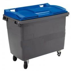 Conteneur poubelle 770 l, cuve grise, 4 roues couvercle bleu