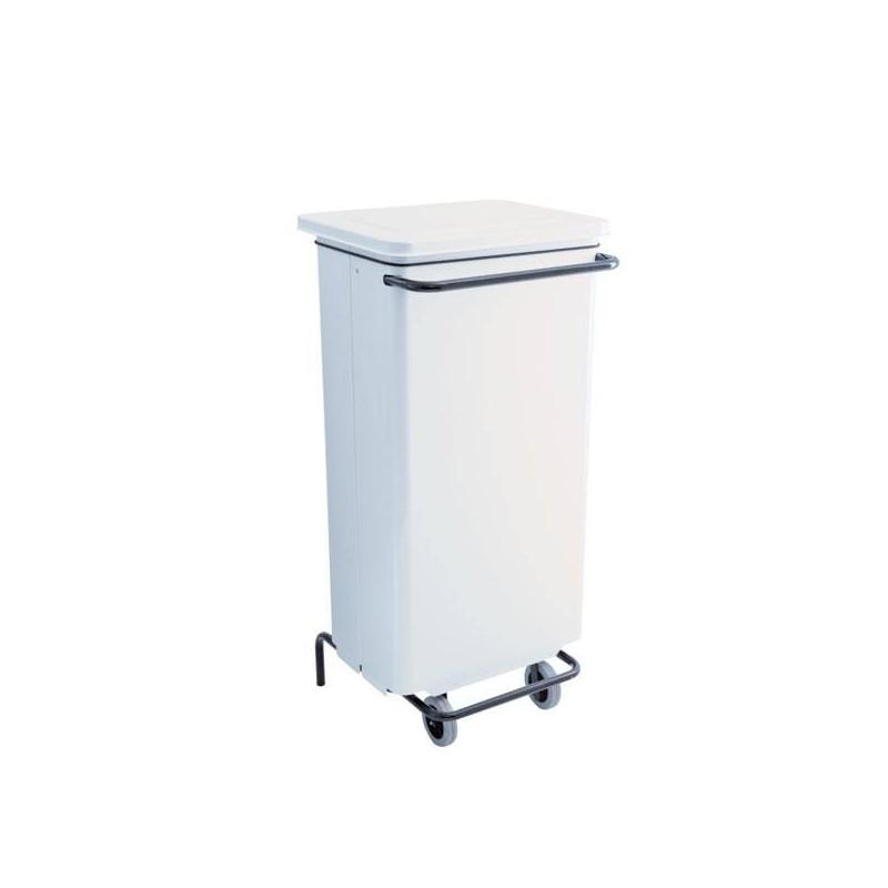 Corbeille mobile à pédale 110 litres blanc