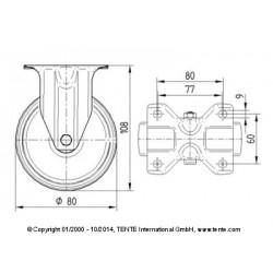 Roulettes industrielles polyamide Ø80 charge 200 kg, version fixe plan