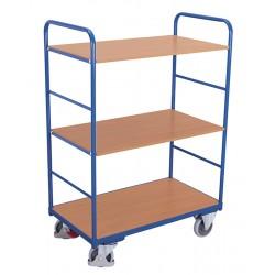 Chariot haut à étagères, 1 plateau et 2 étagères