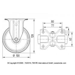 Roulettes industrielles caoutchouc semi-élastique noir Ø100 charge 70 kg, version fixe plan