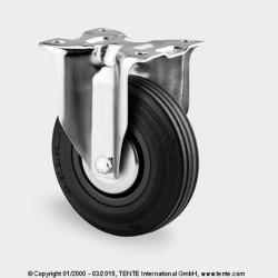 Roulettes industrielles caoutchouc semi-élastique noir  Ø125 charge 100 kg, version fixe