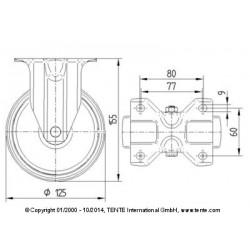 Roulettes industrielles caoutchouc semi-élastique noir  Ø125 charge 100 kg, version fixe plan