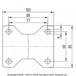Roulettes industrielles caoutchouc semi-élastique noir  Ø125 charge 100 kg, version fixe plan des trous