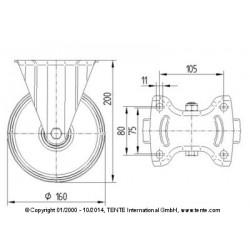Roulettes industrielles caoutchouc semi-élastique noir  Ø160 charge 135 kg, version fixe plan
