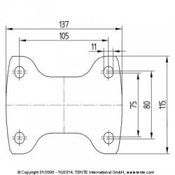 Roulettes industrielles caoutchouc semi-élastique noir  Ø200 charge 205 kg, version fixe plan des trous