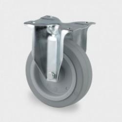 Roulettes industrielles caoutchouc Ø160 charge 300 kg, version fixe