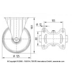 Roulettes industrielles polyuréthane coulé Ø125 charge 300 kg, version fixe plan
