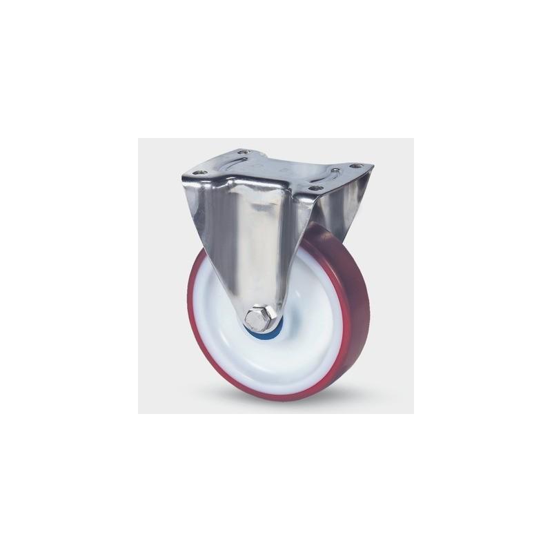 Roulettes industrielles polyuréthane injecté rouge Ø100 charge 150 kg, version fixe