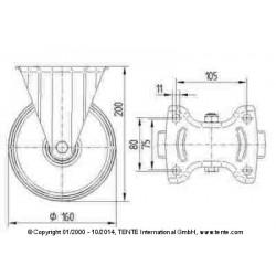 Roulettes industrielles polyuréthane injecté rouge Ø160 charge 350 kg, version fixe plan