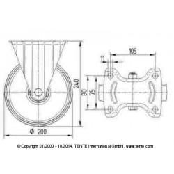 Roulettes industrielles polyuréthane injecté rouge Ø200 charge 400 kg, version fixe plan