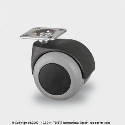 Roulettes d'ameublement caoutchouc thermoplastique (TENTEprène) Ø50 charge 40kg, version pivotante