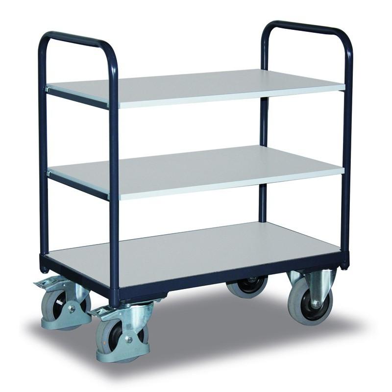 Chariot ESD à étagères avec 3 plateaux