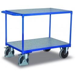 Chariot charge lourde à 2 plateaux en tôle galvanisée