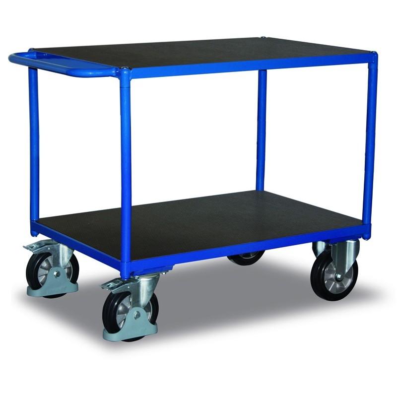 Chariot charge lourde à 2 plateaux en contreplaqué