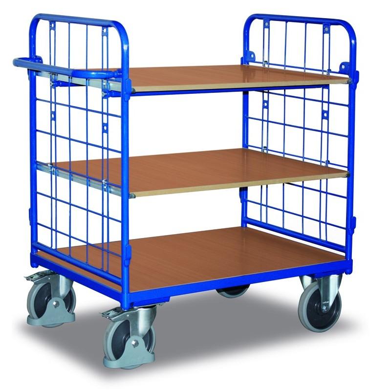 Chariot à étagères, 2 parois et 3 plateaux