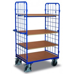 Chariot haut à étagères, 2 parois et 4 plateaux