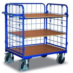 Chariot à étagères 3 parois et 3 plateaux