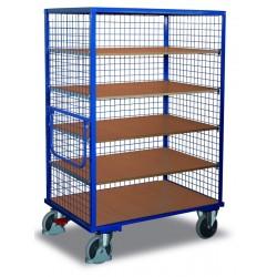 Chariot à étagères avec 1 plateau fie et 4 étagères variables avec EASY STOP