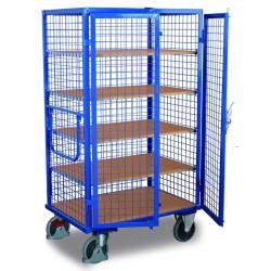 Chariot à étagères avec 1 plateau fie et 4 étagères variables avec EASY STOP, porte battante 2 volets avec levier