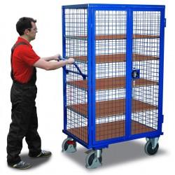 Chariot à étagères avec 1 plateau fie et 4 étagères variables avec EASY STOP, porte battante 2 volets avec poignée tournante