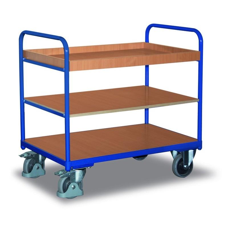 Chariot à étagères, 1 plateau, 1 étagère et 1 bac