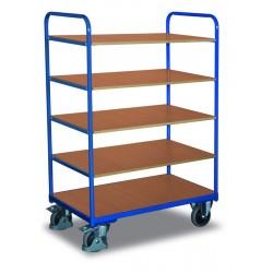 Chariot haut à étagères, 1 plateau et 4 étagères