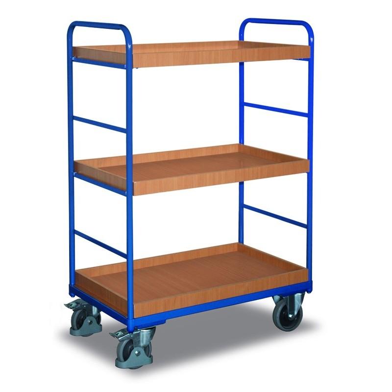 Chariot haut à étagères, 3 bacs