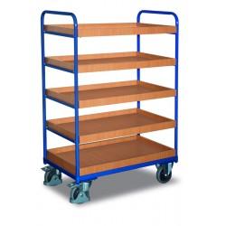Chariot haut à étagères, 5 bacs