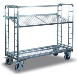 Chariot galvanisé à étagères inclinées avec 2 tablettes grillagées