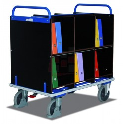 Chariot porte-documents avec 12 casiers et avec EASY STOP