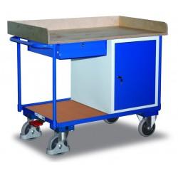 Etabli mobile avec 1 coffre, 1 tiroir et 1 plateau, avec frein central EASY STOP