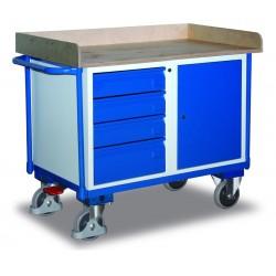 Etabli mobile avec 1 coffre, 4 tiroirs et 1 plateau, avec frein central EASY STOP