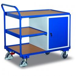 Etabli mobile avec 3 plateaux et 1 coffre, avec frein central EASY STOP