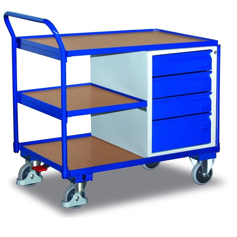Etabli mobile avec 3 plateaux et 4 tiroirs, avec frein central EASY STOP