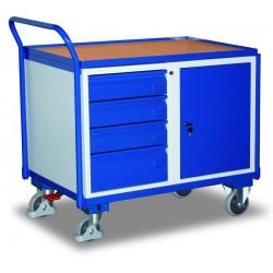 Etabli mobile avec 1 plateau, 4 tiroirs et 1 coffre, avec frein central EASY STOP