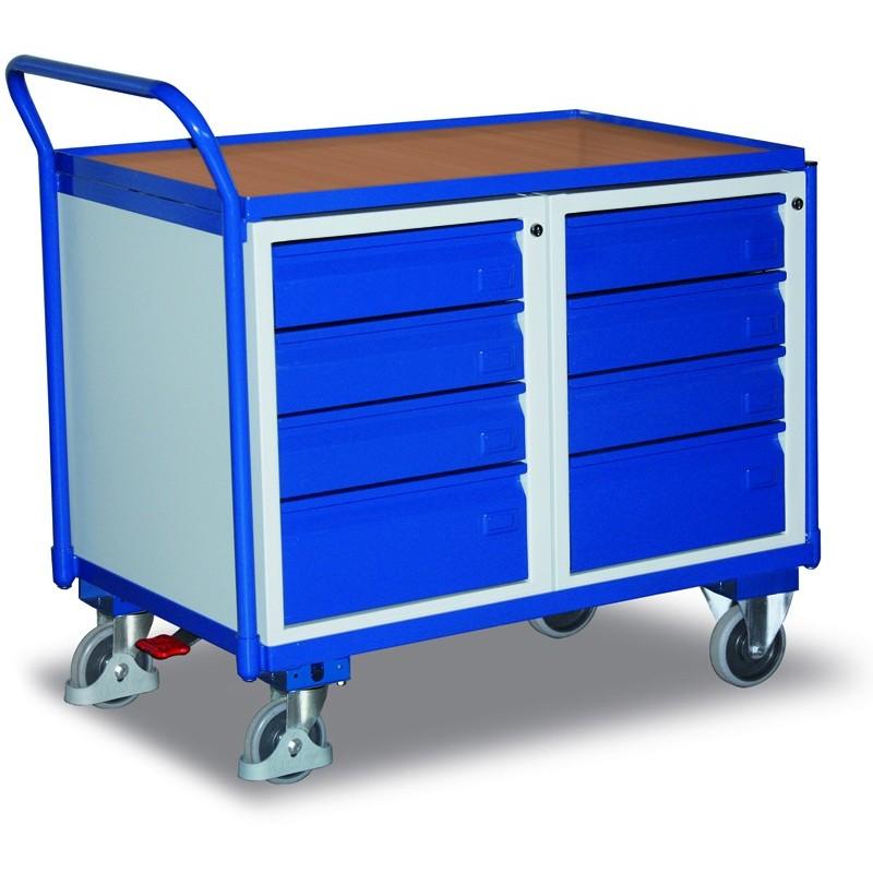 Etabli mobile avec 1 plateau et 8 tiroirs, avec frein central EASY STOP