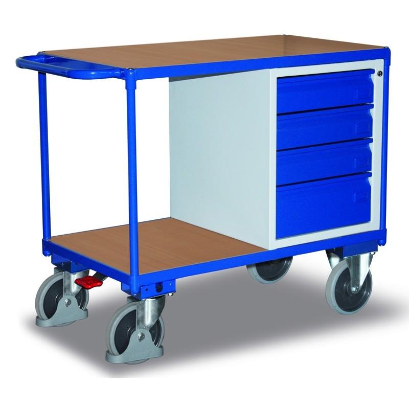Etabli mobile avec 4 tiroirs et 2 plateaux, avec frein central EASY STOP
