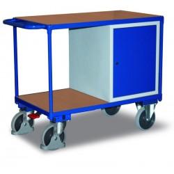 Etabli mobile avec 1 coffre et 2 plateaux, avec frein central EASY STOP