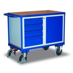 Etabli mobile avec 1 coffre et 4 tiroirs, avec frein central EASY STOP
