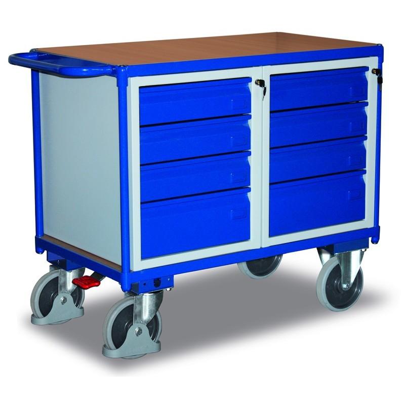 Etabli mobile avec 8 tiroirs, avec frein central EASY STOP