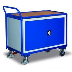 Etabli mobile avec 1 plateau et 1 armoire, avec frein central EASY STOP