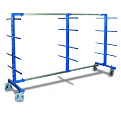 Rayonnage cantilever mobile double face avec 3 montants