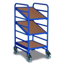 Chariot porte-bacs norme européenne avec 3 bacs plateaux en bois, dim. plateau 410 mm