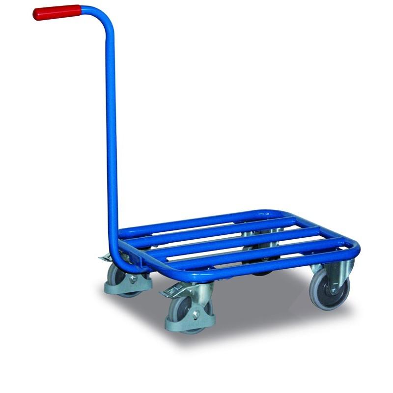 Chariot col de cygne avec plateau tubulaire, 4 roulettes