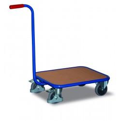 Chariot col de cygne avec plateau bois, 4 roulettes