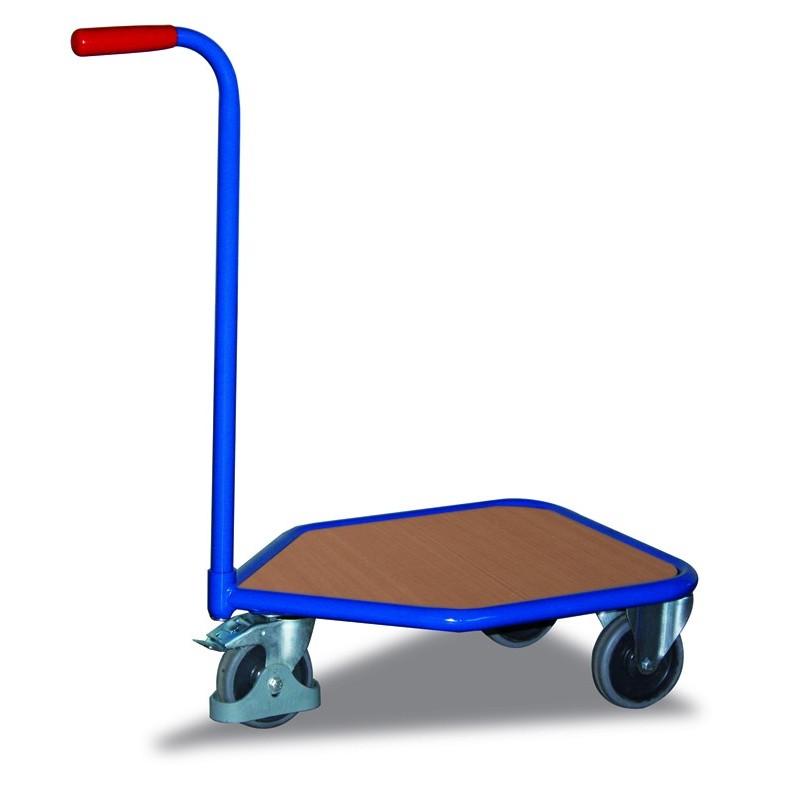 Chariot col de cygne avec plateau bois, 3 roulettes