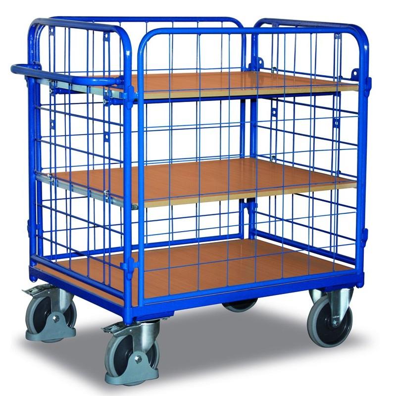 Chariot à étagères 4 parois et 3 plateaux
